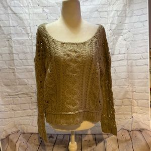 Free People beige cable knit sweater